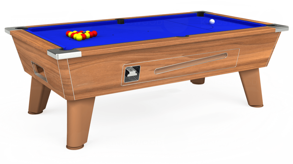 7ft Omega Coin Operated Pool Table in Light Walnut with Standard Blue cloth delivered and installed - £1,110.00