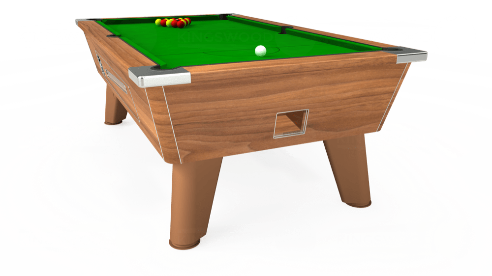 7ft Omega Coin Operated Pool Table in Light Walnut with Standard Green cloth delivered and installed - £1,050.00
