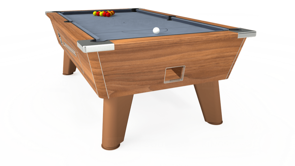 7ft Omega Coin Operated Pool Table in Light Walnut with Hainsworth Elite-Pro Bankers Grey cloth delivered and installed - £1,210.00