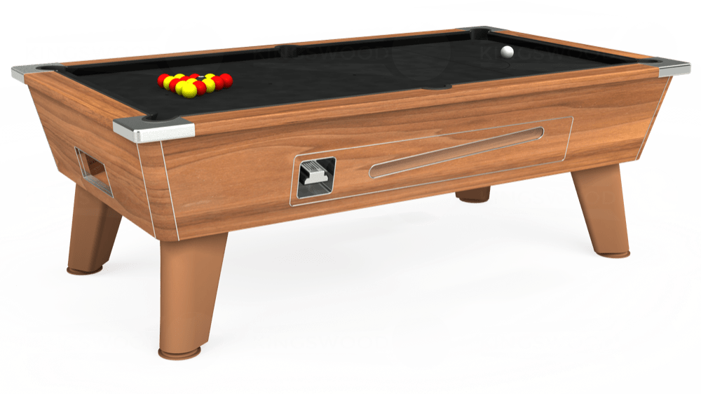 7ft Omega Coin Operated Pool Table in Light Walnut with Hainsworth Elite-Pro Black cloth delivered and installed - £1,210.00