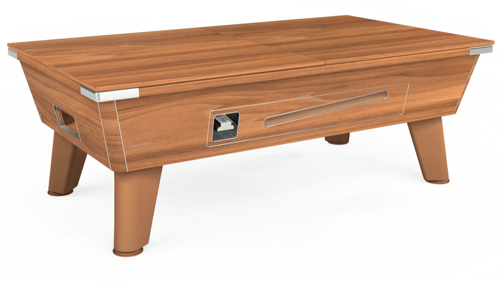 7ft Omega Coin Operated Pool Table in Light Walnut with Hainsworth Elite-Pro Burgundy cloth delivered and installed - £1,210.00