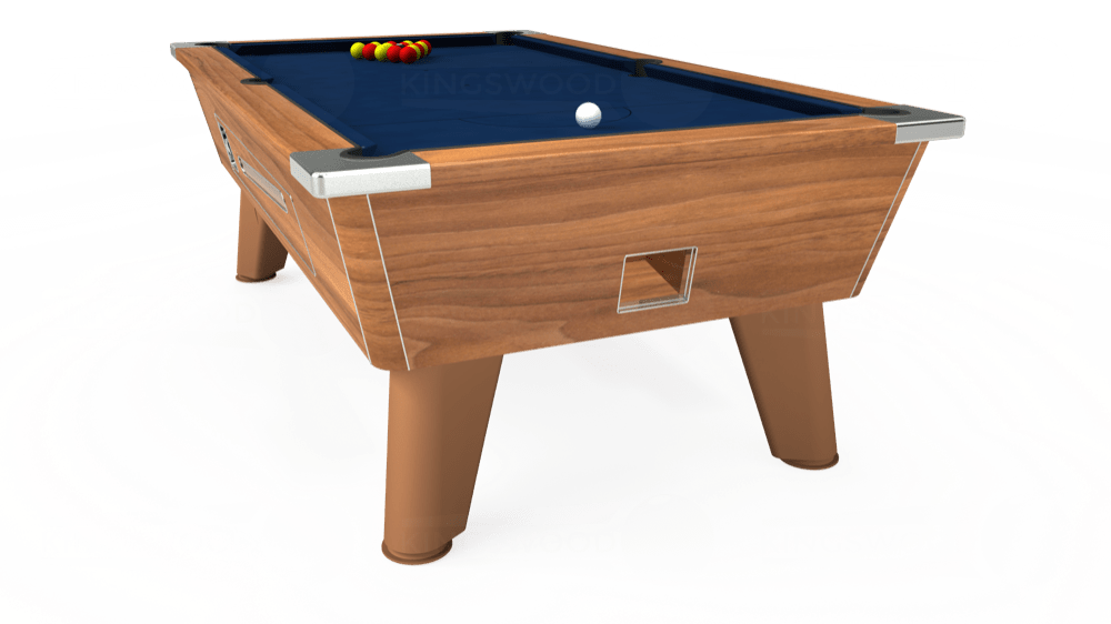 7ft Omega Coin Operated Pool Table in Light Walnut with Hainsworth Elite-Pro Marine Blue cloth delivered and installed - £1,210.00