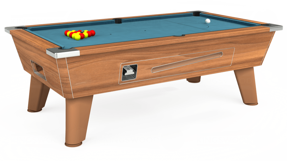 7ft Omega Coin Operated Pool Table in Light Walnut with Hainsworth Elite-Pro Powder Blue cloth delivered and installed - £1,210.00