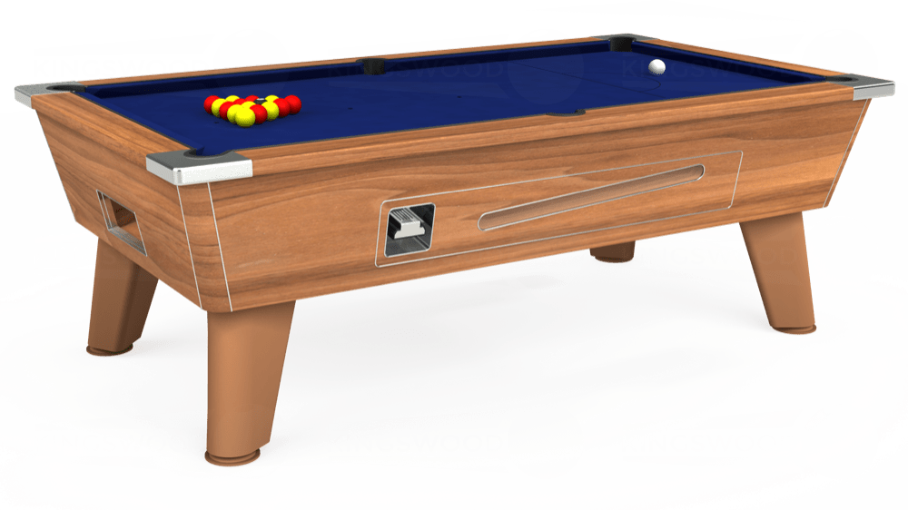 7ft Omega Coin Operated Pool Table in Light Walnut with Hainsworth Elite-Pro Royal Blue cloth delivered and installed - £1,210.00