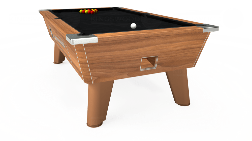 7ft Omega Coin Operated Pool Table in Light Walnut with Hainsworth Smart Black cloth delivered and installed - £1,210.00