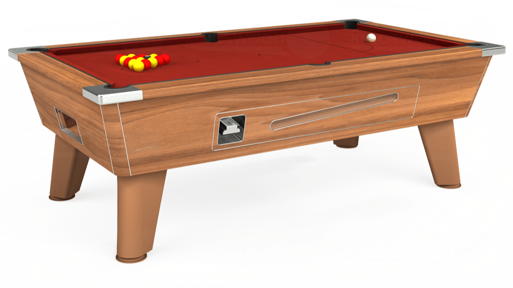 7ft Omega Coin Operated Pool Table in Light Walnut with Hainsworth Smart Cherry cloth delivered and installed - £1,210.00