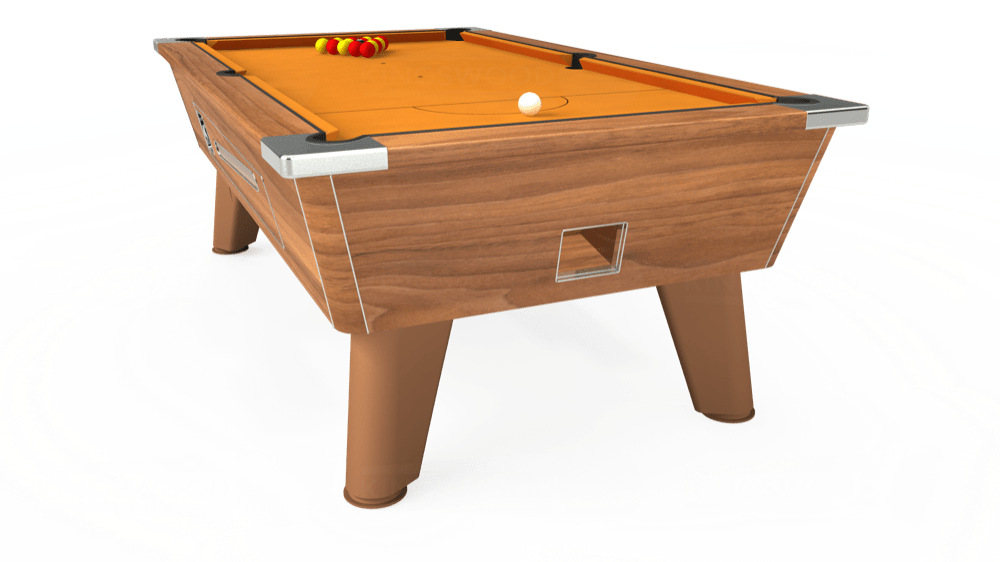 7ft Omega Coin Operated Pool Table in Light Walnut with Hainsworth Smart Gold cloth delivered and installed - £1,210.00