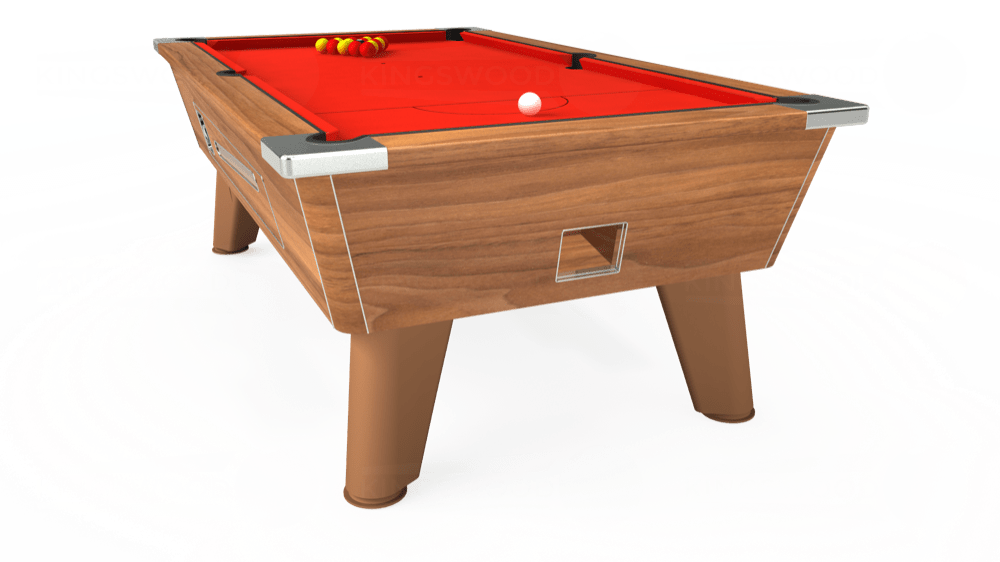 7ft Omega Coin Operated Pool Table in Light Walnut with Hainsworth Smart Orange cloth delivered and installed - £1,150.00