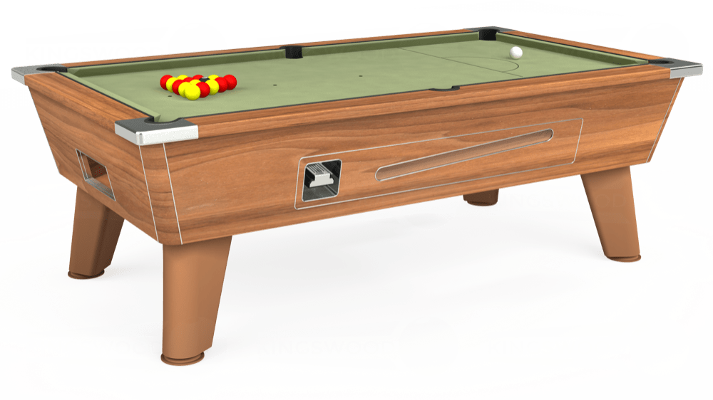 7ft Omega Coin Operated Pool Table in Light Walnut with Hainsworth Smart Sage cloth delivered and installed - £1,210.00