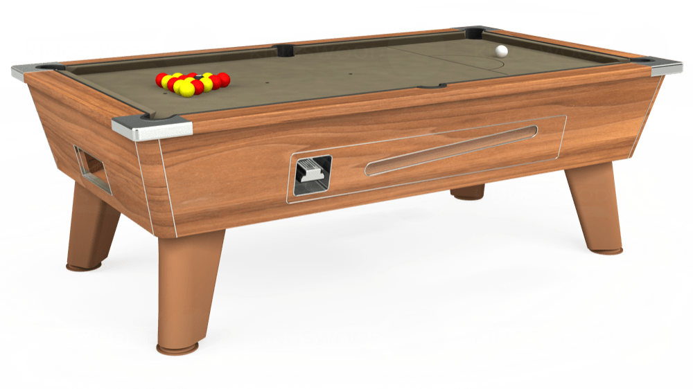 7ft Omega Coin Operated Pool Table in Light Walnut with Hainsworth Smart Taupe cloth delivered and installed - £1,210.00