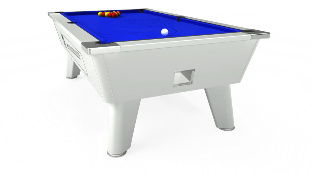 7ft Outback Coin Operated Pool Table in White with Standard Blue cloth delivered and installed - £1,320.00