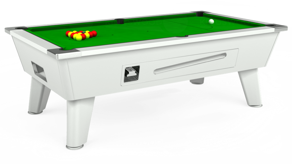 7ft Omega Coin Operated Pool Table in White with Standard Green cloth delivered and installed - £1,050.00