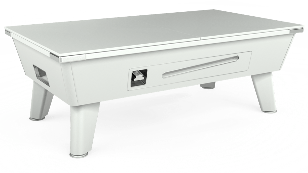 7ft Omega Coin Operated Pool Table in White with Hainsworth Elite-Pro Bankers Grey cloth delivered and installed - £1,210.00
