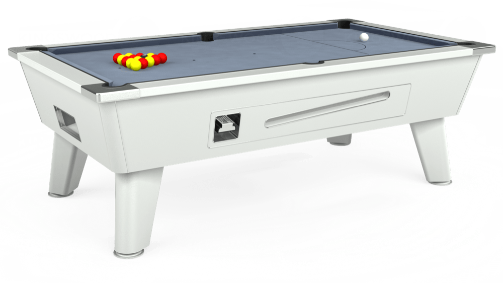 7ft Omega Coin Operated Pool Table in White with Hainsworth Elite-Pro Bankers Grey cloth delivered and installed - £1,150.00