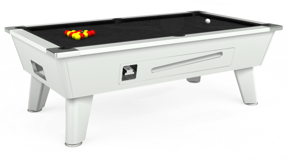 7ft Outback Coin Operated Pool Table in White with Hainsworth Elite-Pro Black cloth delivered and installed - £1,500.00