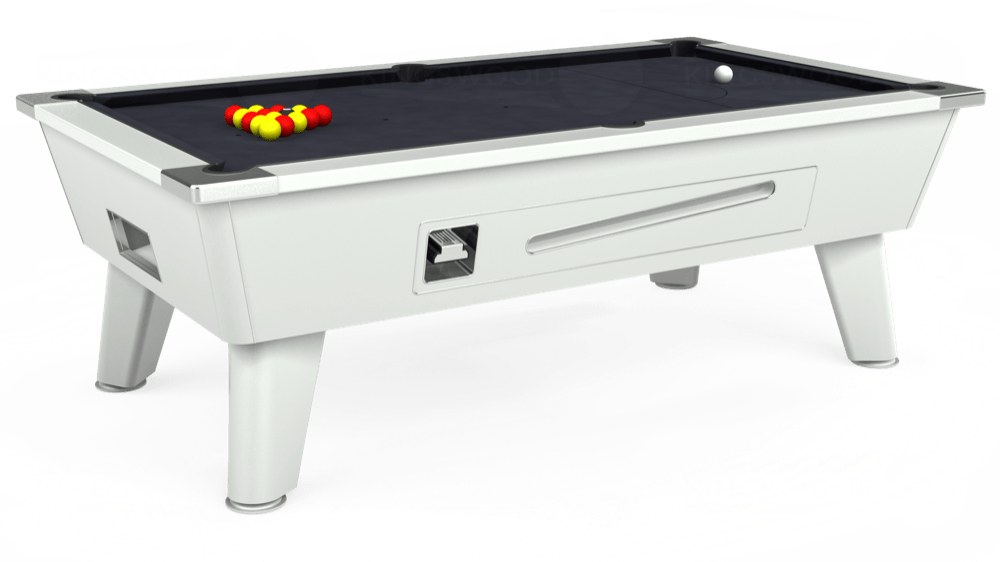 7ft Outback Coin Operated Pool Table in White with Hainsworth Elite-Pro Charcoal cloth delivered and installed - £1,550.00