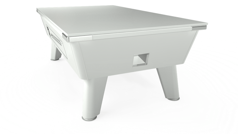 7ft Omega Coin Operated Pool Table in White with Hainsworth Elite-Pro Electric Blue cloth delivered and installed - £1,250.00