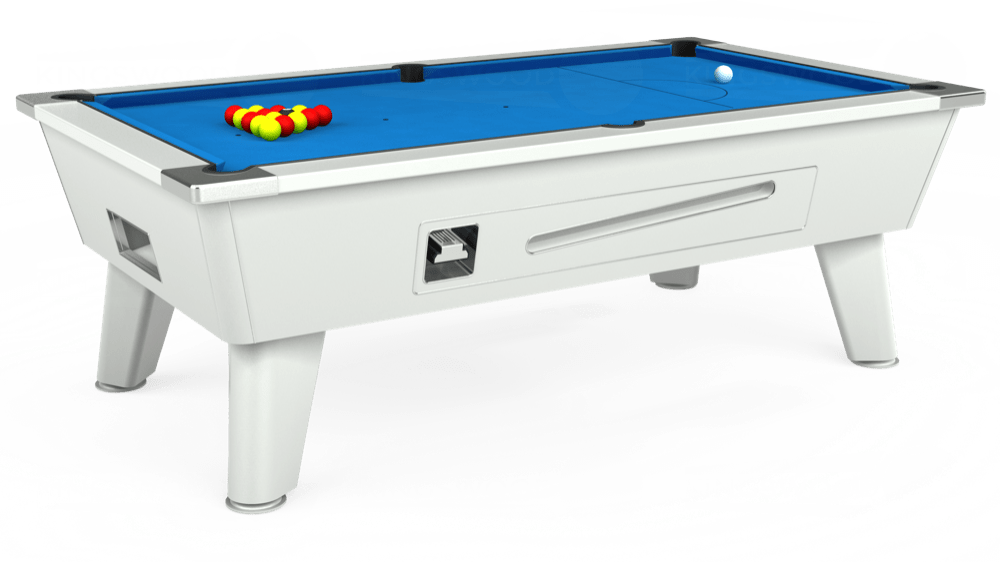 7ft Outback Coin Operated Pool Table in White with Hainsworth Elite-Pro Electric Blue cloth delivered and installed - £1,500.00