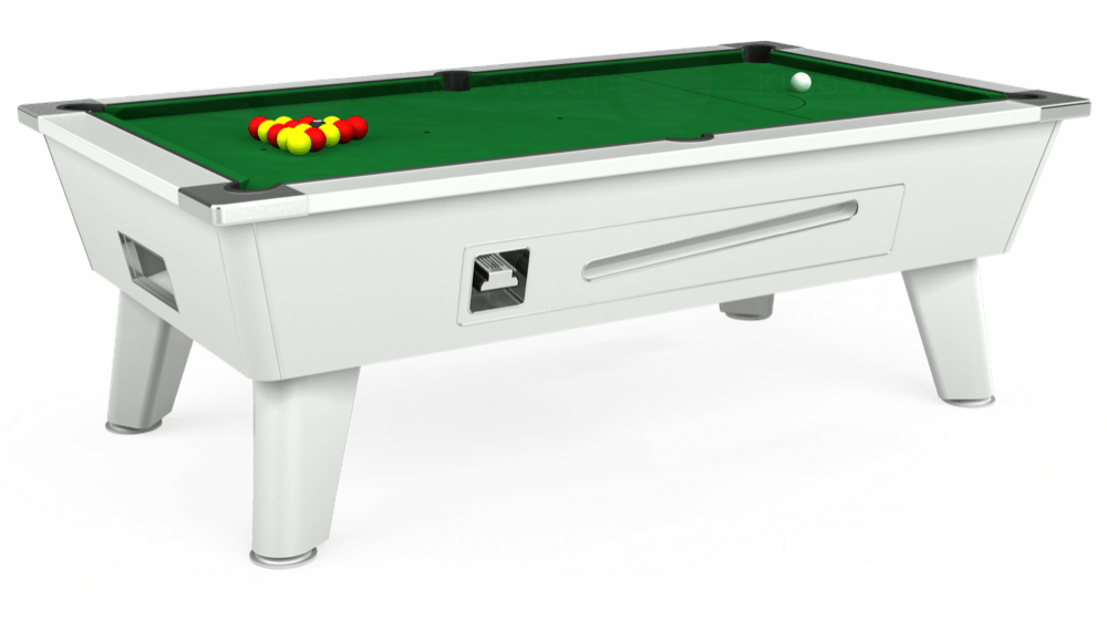 7ft Outback Coin Operated Pool Table in White with Hainsworth Elite-Pro English Green cloth delivered and installed - £1,500.00