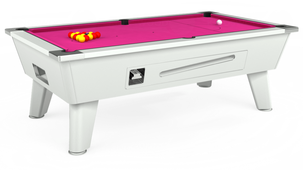 7ft Outback Coin Operated Pool Table in White with Hainsworth Elite-Pro Fuchsia cloth delivered and installed - £1,550.00