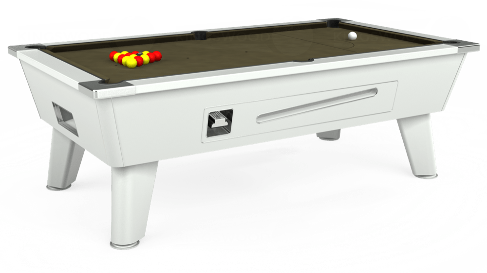 7ft Outback Coin Operated Pool Table in White with Hainsworth Elite-Pro Olive cloth delivered and installed - £1,420.00