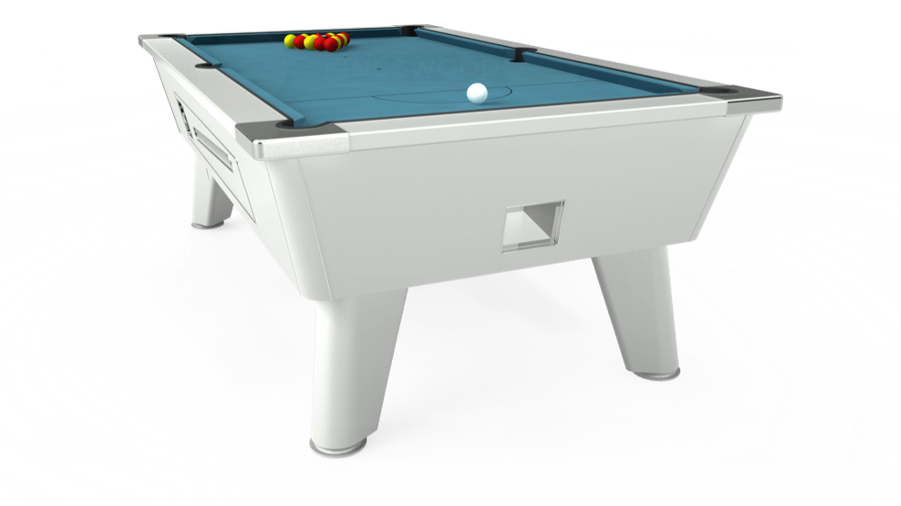 7ft Outback Coin Operated Pool Table in White with Hainsworth Elite-Pro Powder Blue cloth delivered and installed - £1,420.00