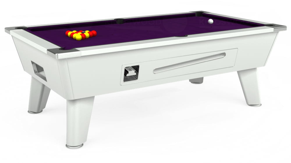 7ft Outback Coin Operated Pool Table in White with Hainsworth Elite-Pro Purple cloth delivered and installed - £1,500.00