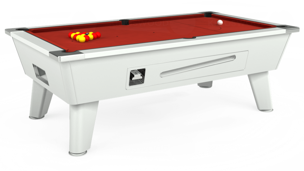 7ft Outback Coin Operated Pool Table in White with Hainsworth Elite-Pro Red cloth delivered and installed - £1,500.00