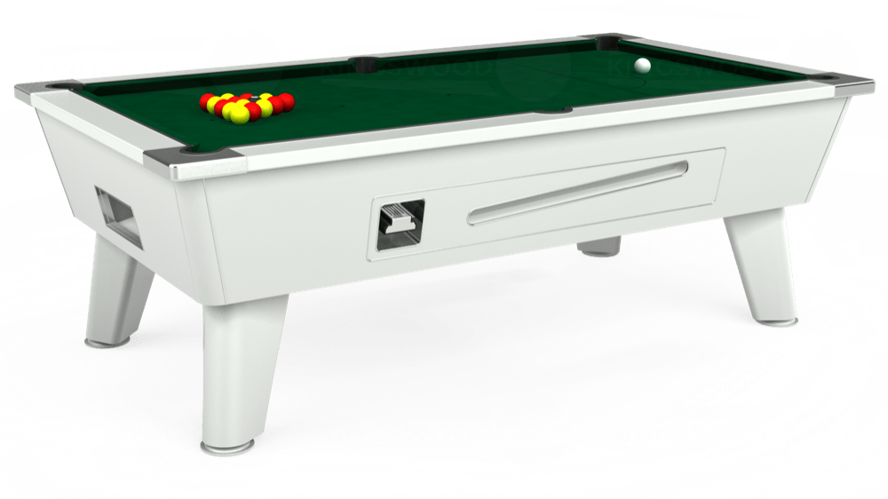 7ft Outback Coin Operated Pool Table in White with Hainsworth Elite-Pro Spruce cloth delivered and installed - £1,500.00