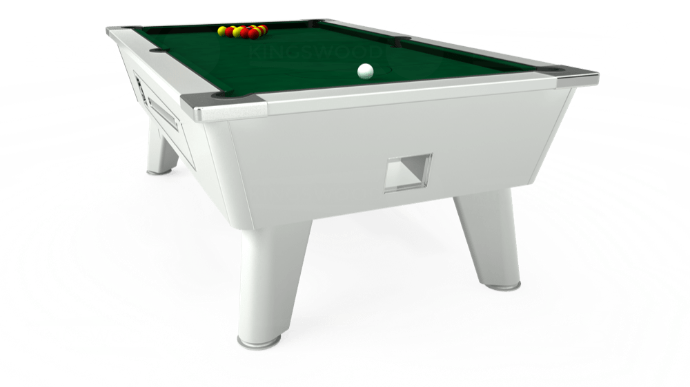 7ft Outback Coin Operated Pool Table in White with Hainsworth Elite-Pro Spruce cloth delivered and installed - £1,420.00