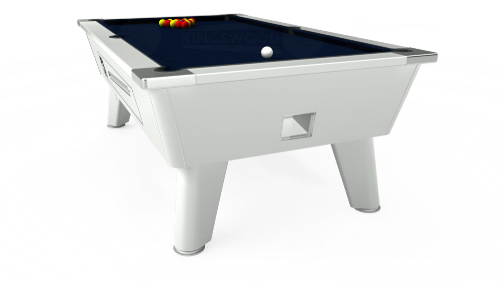 7ft Omega Coin Operated Pool Table in White with Hainsworth Smart French Navy cloth delivered and installed - £1,250.00