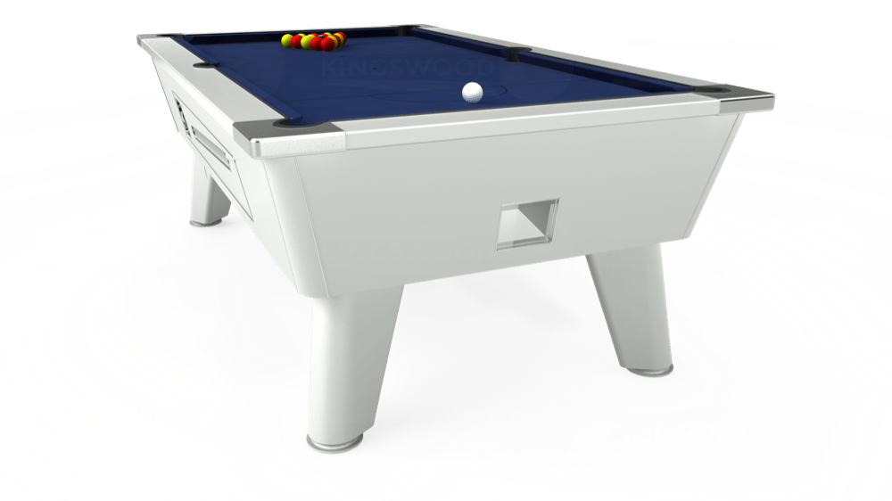 7ft Omega Coin Operated Pool Table in White with Hainsworth Smart Navy cloth delivered and installed - £1,250.00