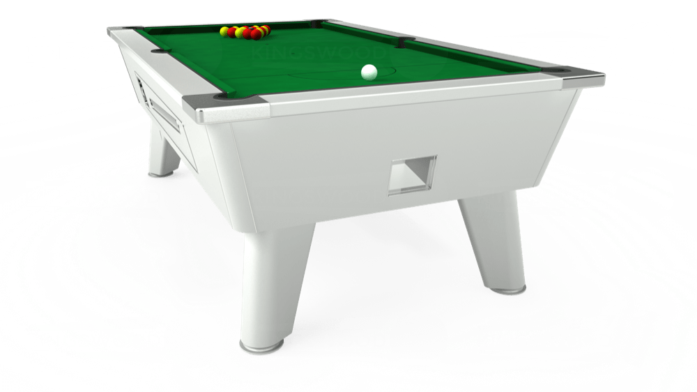 7ft Omega Coin Operated Pool Table in White with Hainsworth Smart Olive cloth delivered and installed - £1,250.00