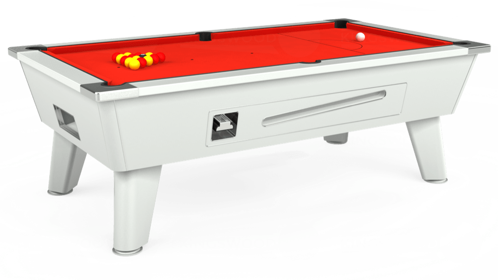 7ft Omega Coin Operated Pool Table in White with Hainsworth Smart Orange cloth delivered and installed - £1,210.00
