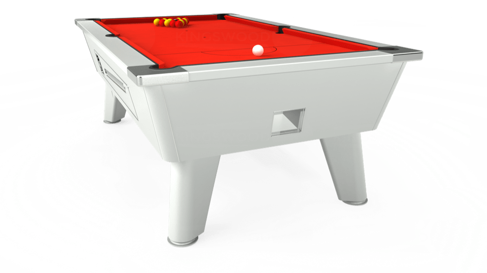 7ft Omega Coin Operated Pool Table in White with Hainsworth Smart Orange cloth delivered and installed - £1,150.00
