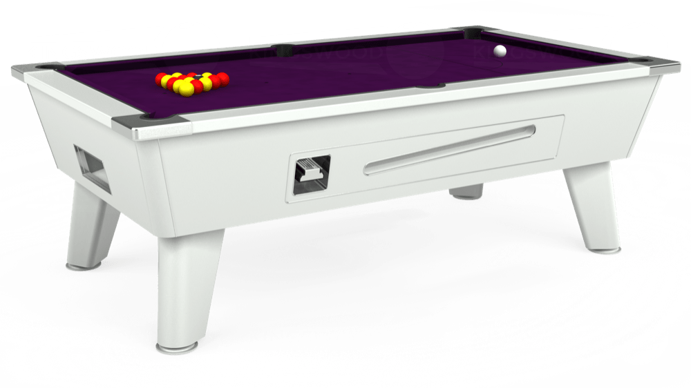 7ft Omega Coin Operated Pool Table in White with Hainsworth Smart Purple cloth delivered and installed - £1,250.00