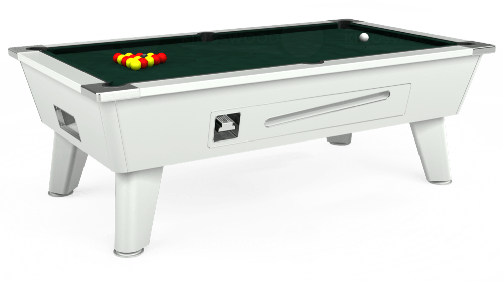 7ft Omega Coin Operated Pool Table in White with Hainsworth Smart Ranger Green cloth delivered and installed - £1,250.00