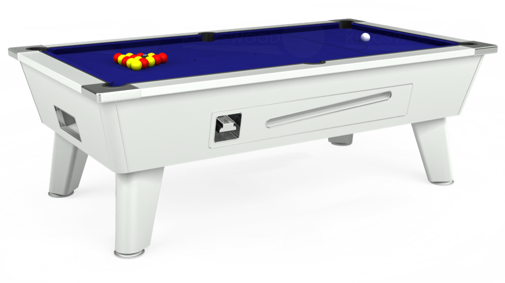 7ft Omega Coin Operated Pool Table in White with Hainsworth Smart Royal Blue cloth delivered and installed - £1,250.00
