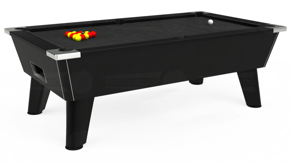 7ft Omega Free Play Pool Table in Black with Standard Black cloth delivered and installed - £975.00