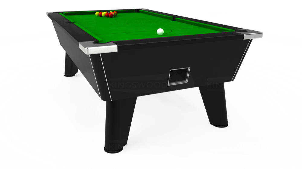 7ft Omega Free Play Pool Table in Black with Standard Green cloth delivered and installed - £975.00