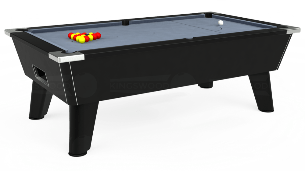 7ft Omega Free Play Pool Table in Black with Hainsworth Elite-Pro Bankers Grey cloth delivered and installed - £1,125.00