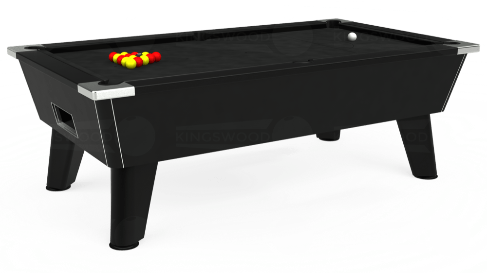 7ft Omega Free Play Pool Table in Black with Hainsworth Elite-Pro Black cloth delivered and installed - £1,125.00