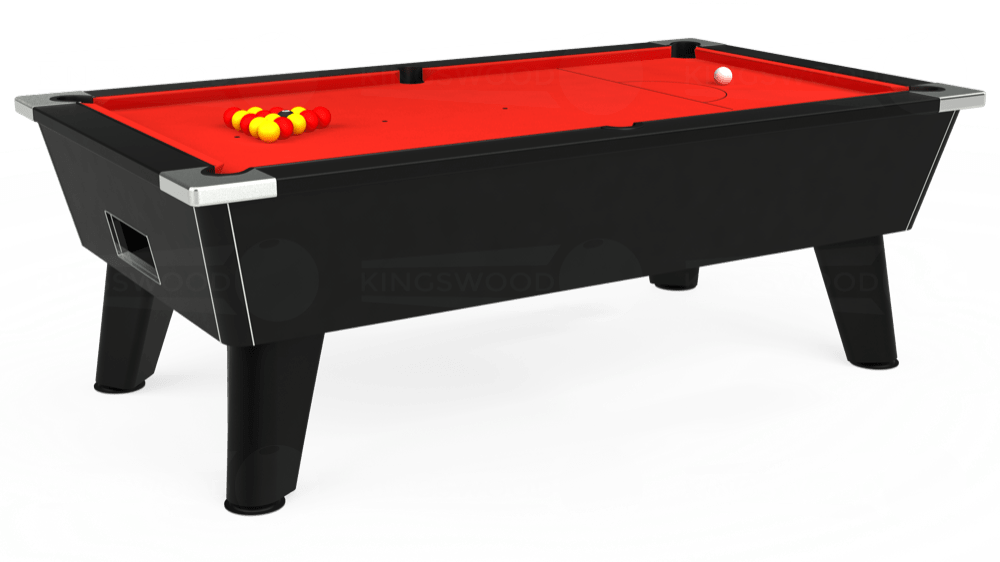 7ft Omega Free Play Pool Table in Black with Hainsworth Elite-Pro Bright Red cloth delivered and installed - £1,125.00