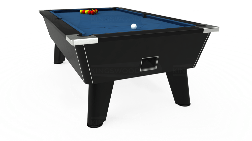 7ft Omega Free Play Pool Table in Black with Hainsworth Elite-Pro Cadet Blue cloth delivered and installed - £1,125.00