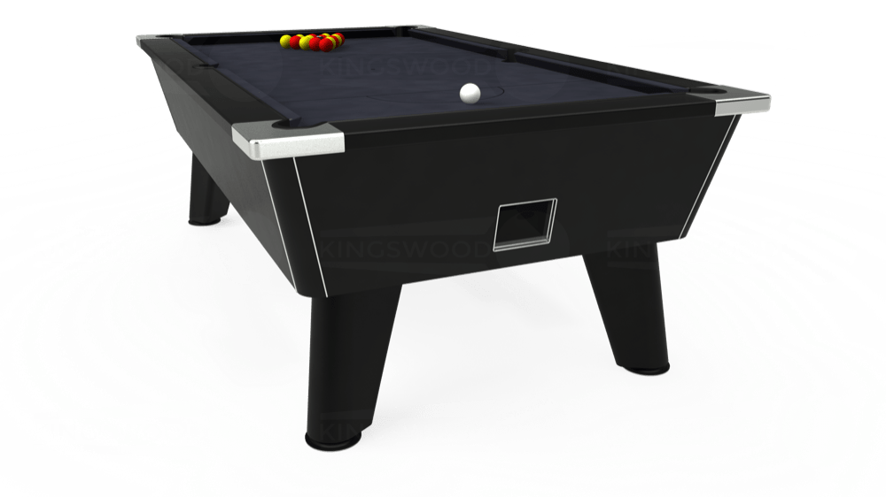 7ft Omega Free Play Pool Table in Black with Hainsworth Elite-Pro Charcoal cloth delivered and installed - £1,125.00