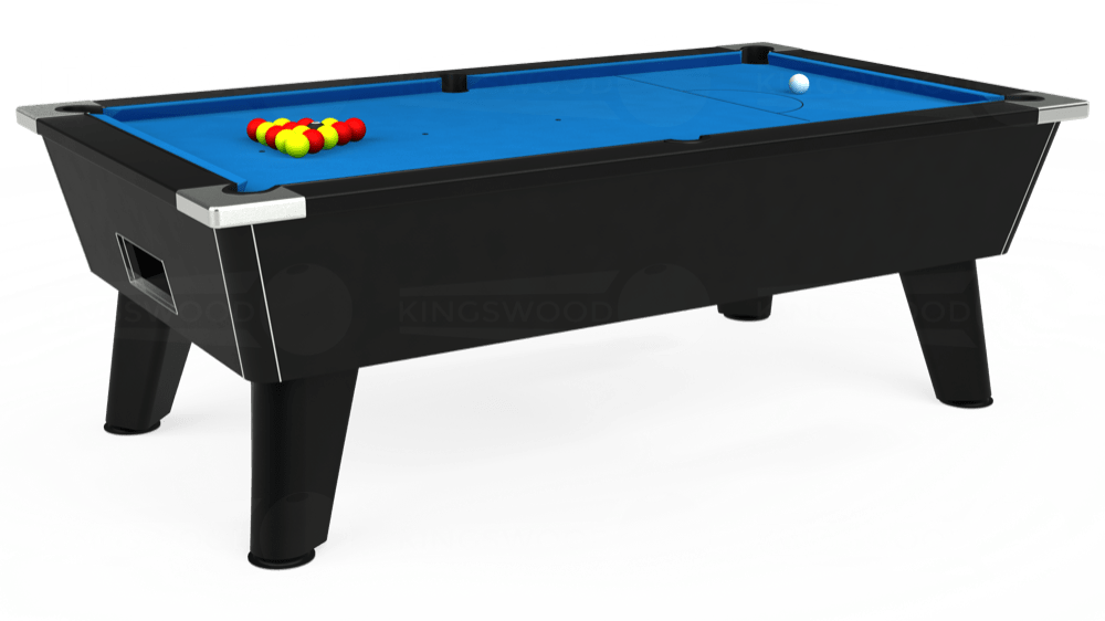 7ft Omega Free Play Pool Table in Black with Hainsworth Elite-Pro Electric Blue cloth delivered and installed - £1,075.00