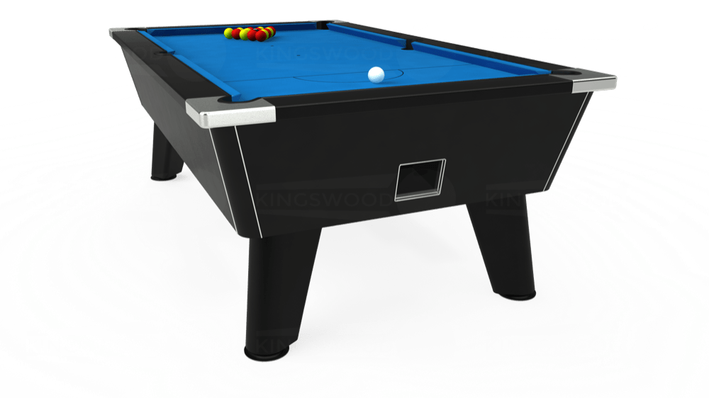 7ft Omega Free Play Pool Table in Black with Hainsworth Elite-Pro Electric Blue cloth delivered and installed - £1,125.00