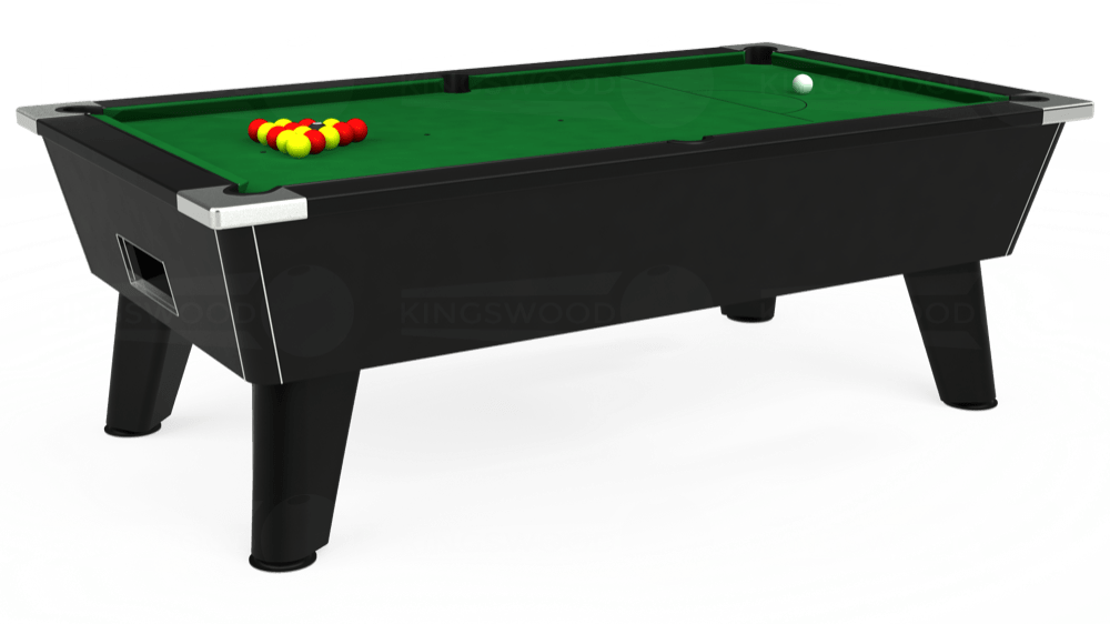 7ft Omega Free Play Pool Table in Black with Hainsworth Elite-Pro English Green cloth delivered and installed - £1,125.00