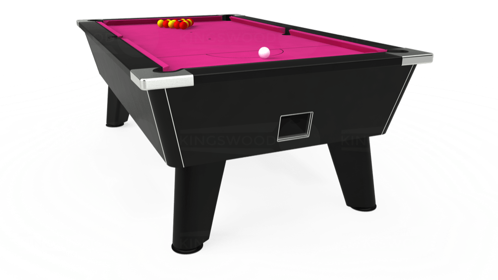 7ft Omega Free Play Pool Table in Black with Hainsworth Elite-Pro Fuchsia cloth delivered and installed - £1,075.00