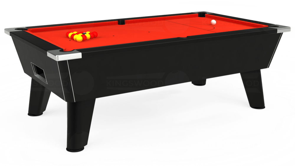 7ft Omega Free Play Pool Table in Black with Hainsworth Elite-Pro Orange cloth delivered and installed - £1,075.00